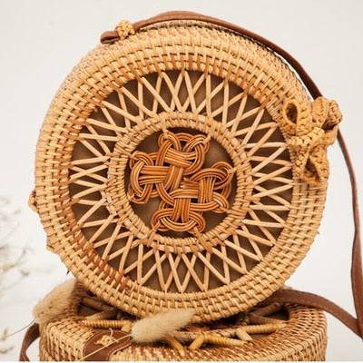 Brown Woven Rattan Bag Round Straw Shoulder Bag - Jance Samantha Beauty & Fashion