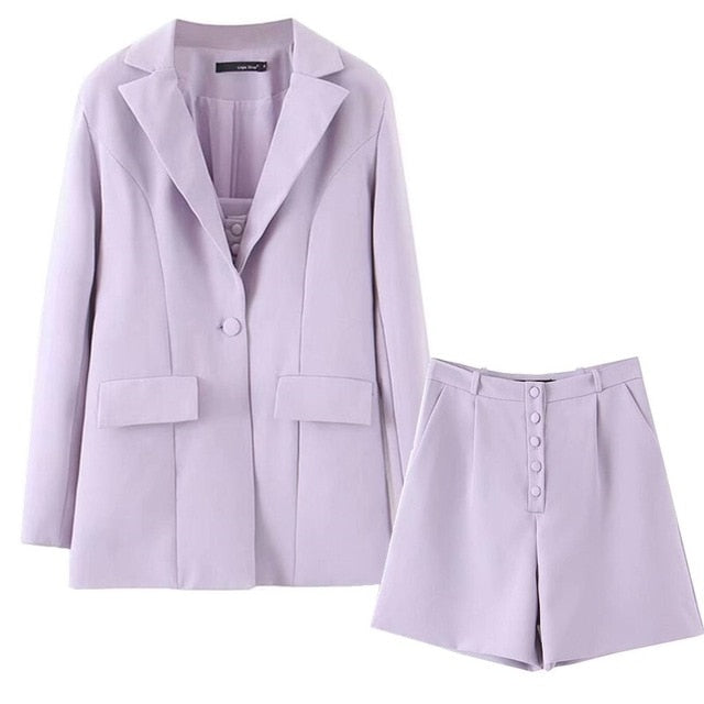 Boyfriend Style One Button Mid Long Blazer WITH High Waist Loose Shorts - Jance Samantha Beauty & Fashion