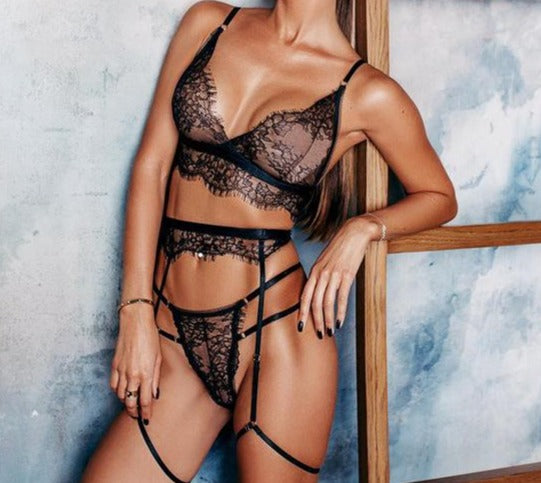 Lace Lingerie 3 Piece Set See Through Bodycon - Jance Samantha Beauty & Fashion