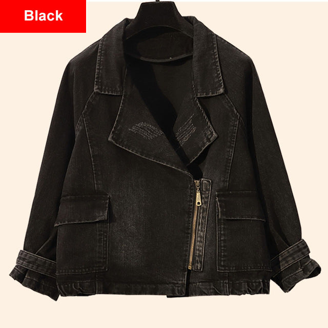 Turn Down Collar Zipper Black Bomber Denim Jacket - Jance Samantha Beauty & Fashion