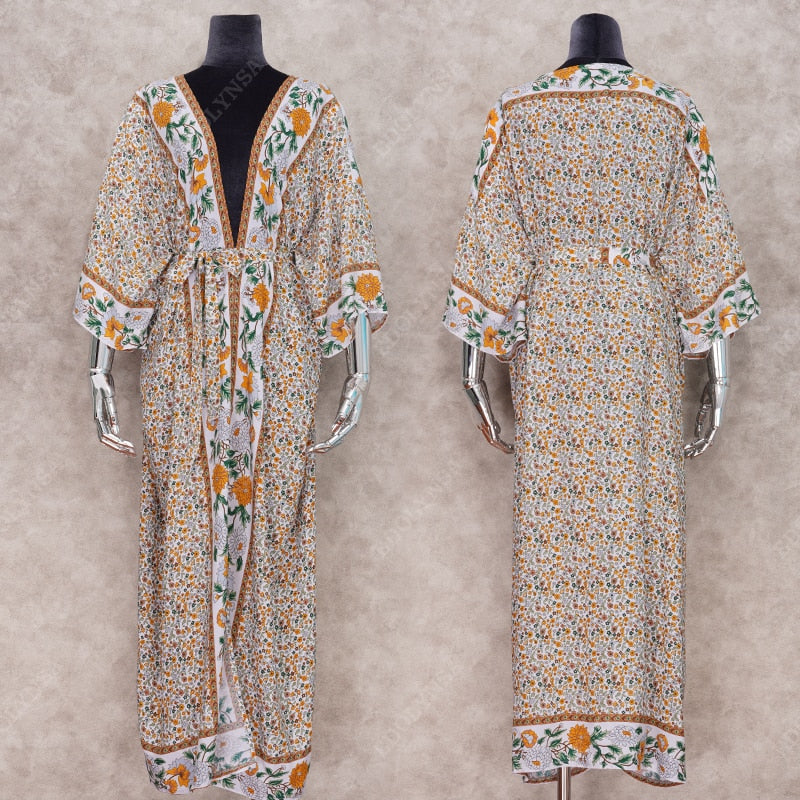 2020 Bohemian Printed Summer Beach Wear Tunic Cover-ups - Jance Samantha Beauty & Fashion