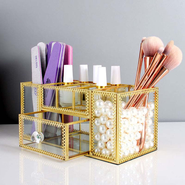 Glass Makeup Organizer - Jance Samantha Beauty & Fashion