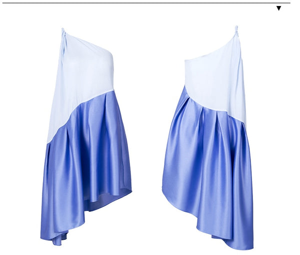 Blue One Shoulder Slip Dress - Jance Samantha Beauty & Fashion
