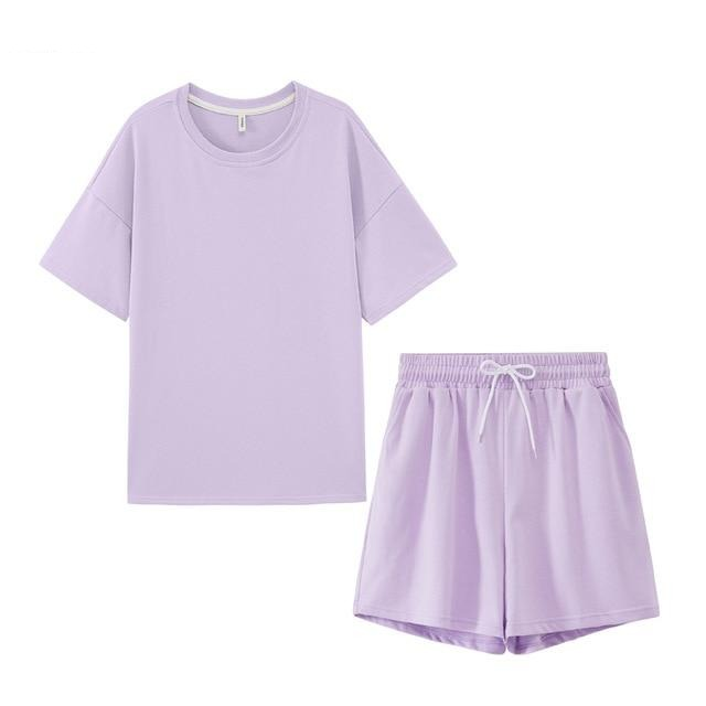Cotton Oversized T-shirts High Waist Shorts - Jance Samantha Beauty & Fashion