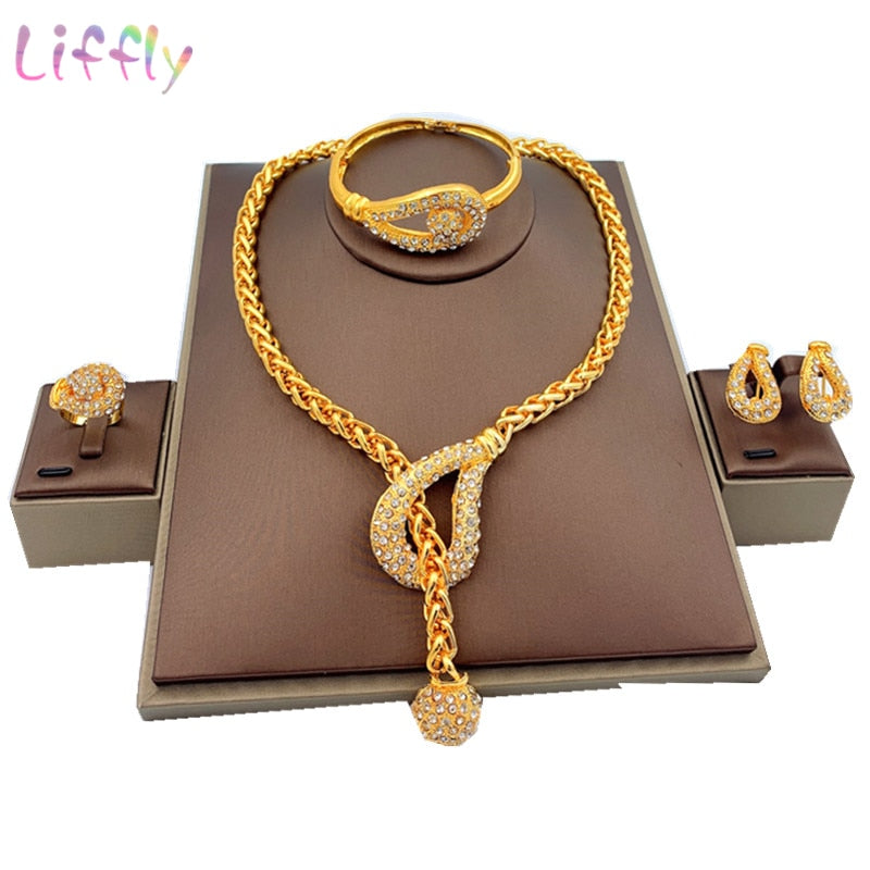 Liffly Luxury Dubai Gold Jewelry Sets For Women Wedding African Beads Necklace Earrings Bracelet Ring Indian Bridal Jewelry Set - Jance Samantha Beauty & Fashion, LLC
