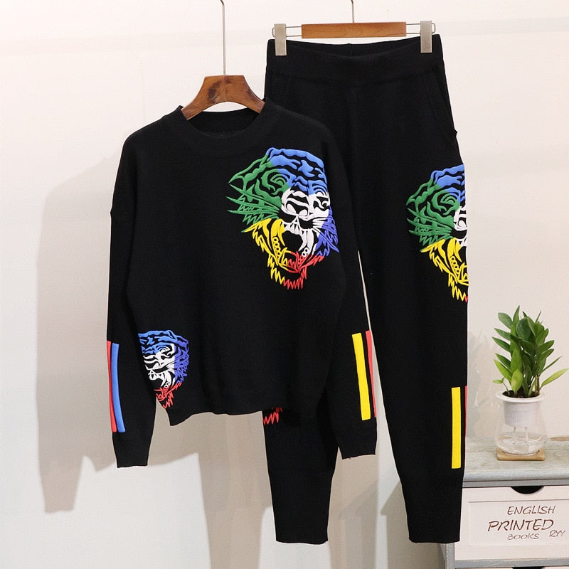 Fashion Embroidered Tiger Head Sweater Top + Pants Knitted Tracksuit - Jance Samantha Beauty & Fashion