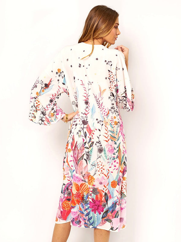 Bohemian Printed Ankle Length Beach Cover Up - Jance Samantha Beauty & Fashion