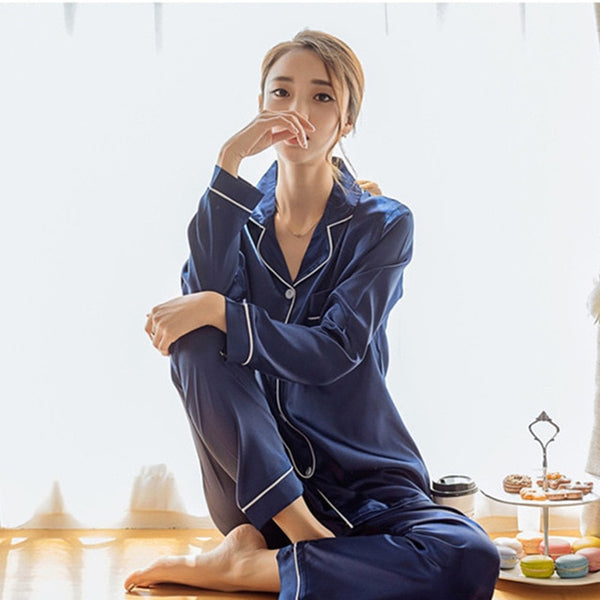 Faux Silk Satin Pajamas Set Long Sleeve Pajamas - Jance Samantha Beauty & Fashion