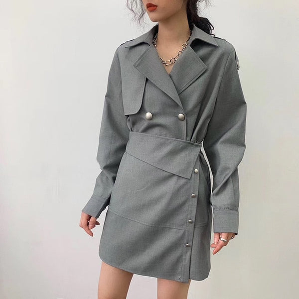 Irregular Split Joint Lapel Dress - Jance Samantha Beauty & Fashion
