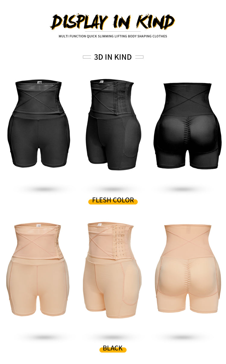 Firm Control Seamless Padded Thigh Slimmer High Waist Short Booster - Jance Samantha Beauty & Fashion