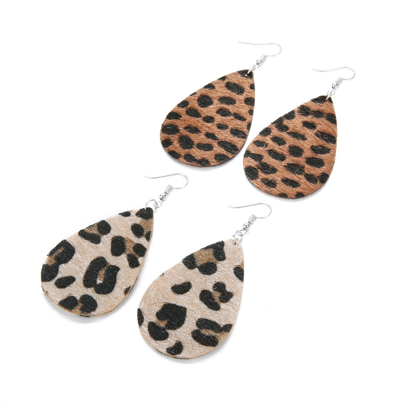 Hot Sell Classic Leopard Leather Earrings Water Drop Shape - Jance Samantha Beauty & Fashion