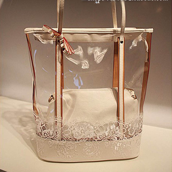 Transparent PVC Butterfly Printed Handbags
