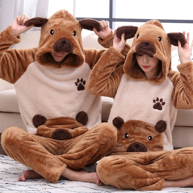 Winter Couple Pajamas Velvet Thicken Hooded Pajamas Set - Jance Samantha Beauty & Fashion