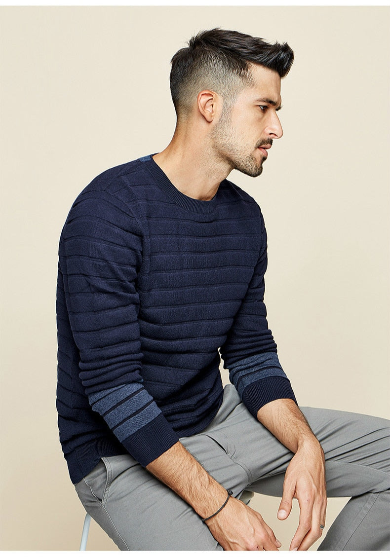 Cotton Stripe Blue Sweater Men Pullover Casual Knitted Korean Style - Jance Samantha Beauty & Fashion