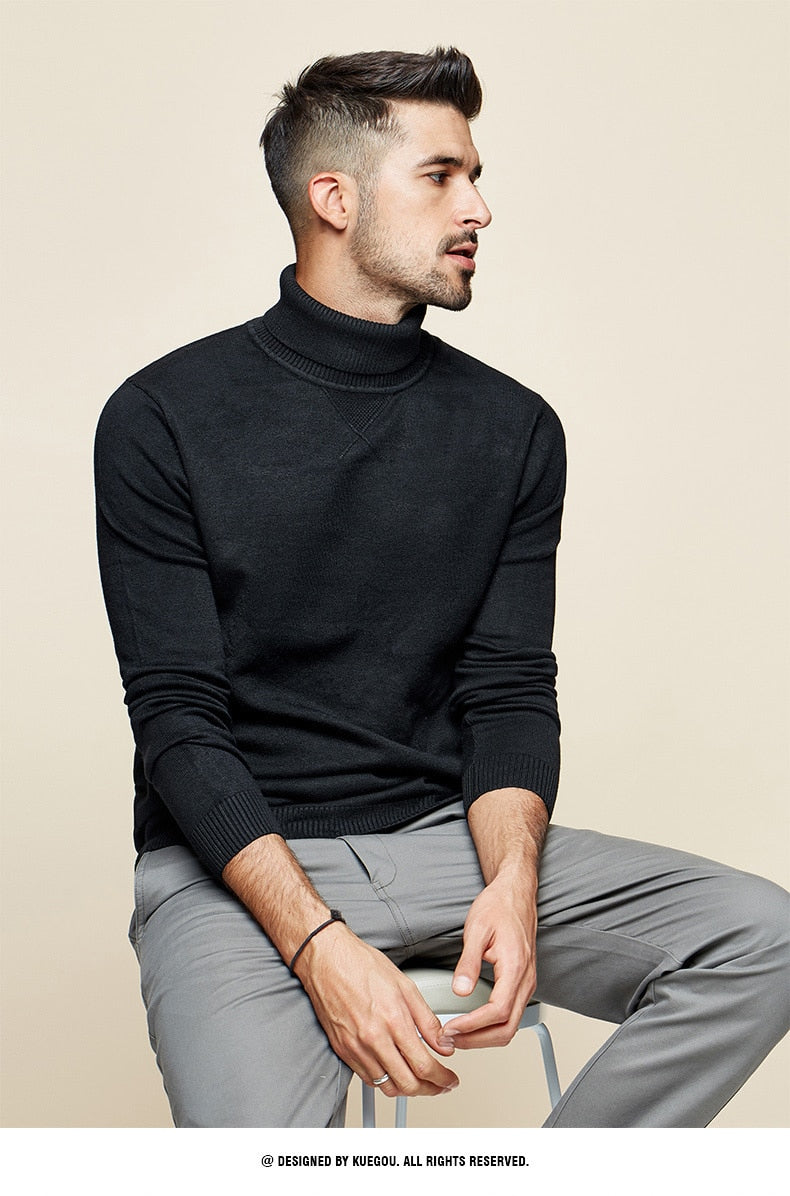 Plain Black Turtleneck Sweater Men Pullover Knitted Korean Style - Jance Samantha Beauty & Fashion