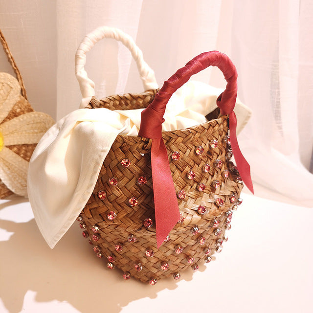 Handmade Embellished Straw Beach Bag with Pearl - Jance Samantha Beauty & Fashion