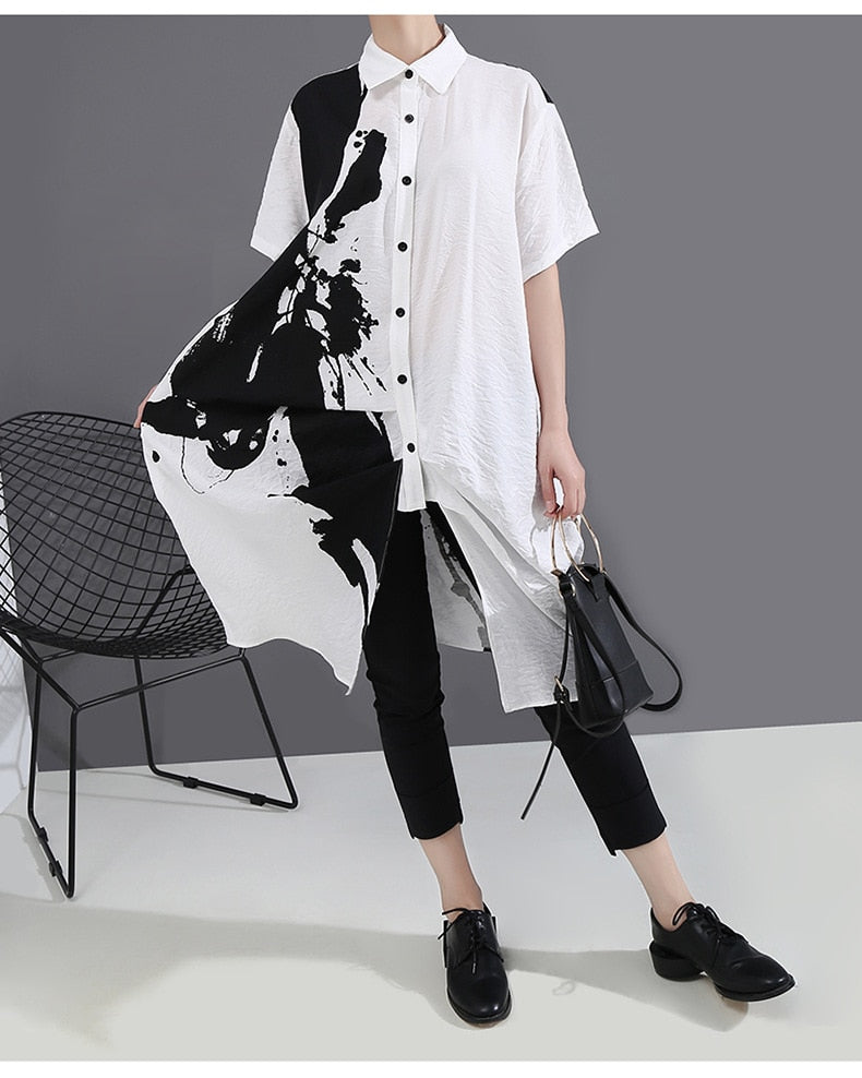Pattern Printed Lapel Short Sleeve Loose Fit Fashion Shirt Dress - Jance Samantha Beauty & Fashion
