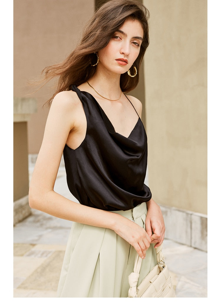 Fashion Asymmetry Halter Vest Sexy Low-cut Satin Blouse - Jance Samantha Beauty & Fashion