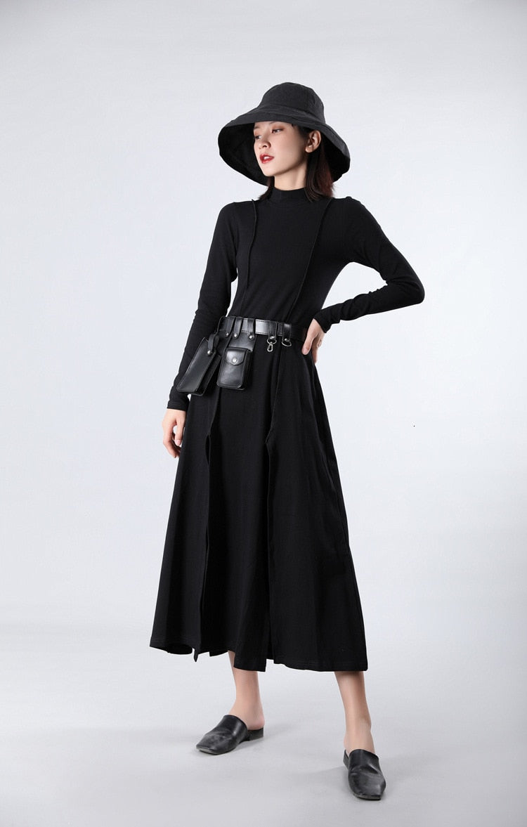 Red Vent Split Joint Long TemperamentTurtleneck Long Sleeve Dress - Jance Samantha Beauty & Fashion