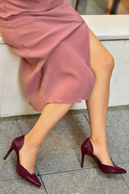 Brien Burgundy Snake Stiletto Slip-on Pointed Toe Dress Shoe - Jance Samantha Beauty & Fashion