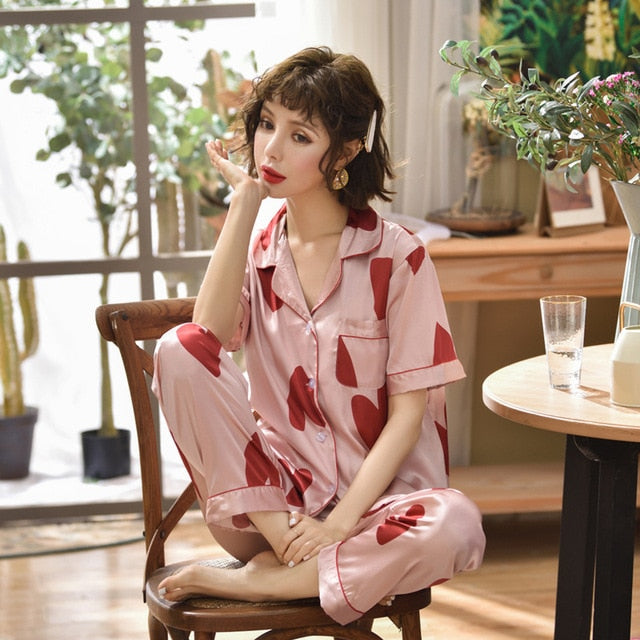 Faux Silk Satin Elegant Short Sleeve Shirt Pants Printed Sleepwear - Jance Samantha Beauty & Fashion