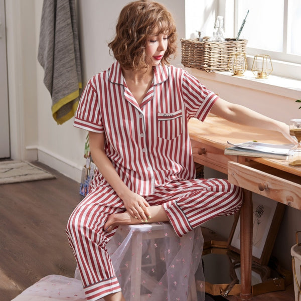 Cotton Pajamas Set Short Sleeve Long Pants Sleepwear Striped - Jance Samantha Beauty & Fashion