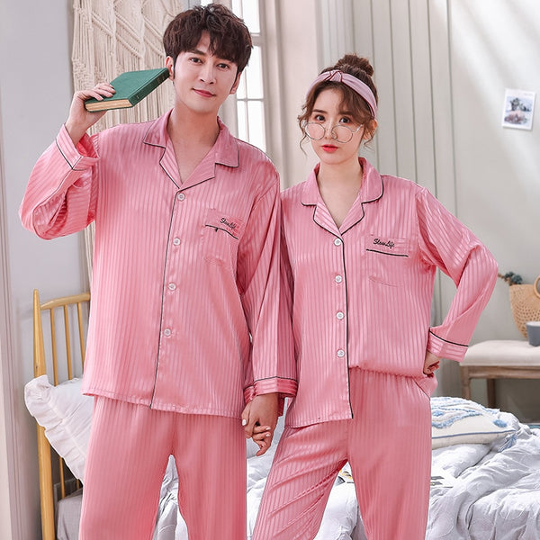 Faux Silk Satin Couple Set Long Sleeve Striped Pajamas - Jance Samantha Beauty & Fashion