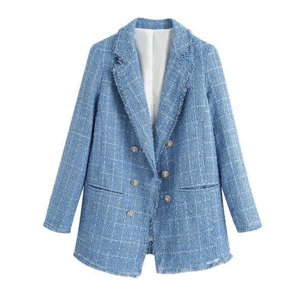 Vintage Tweed Blue Blazer Double Breasted - Jance Samantha Beauty & Fashion