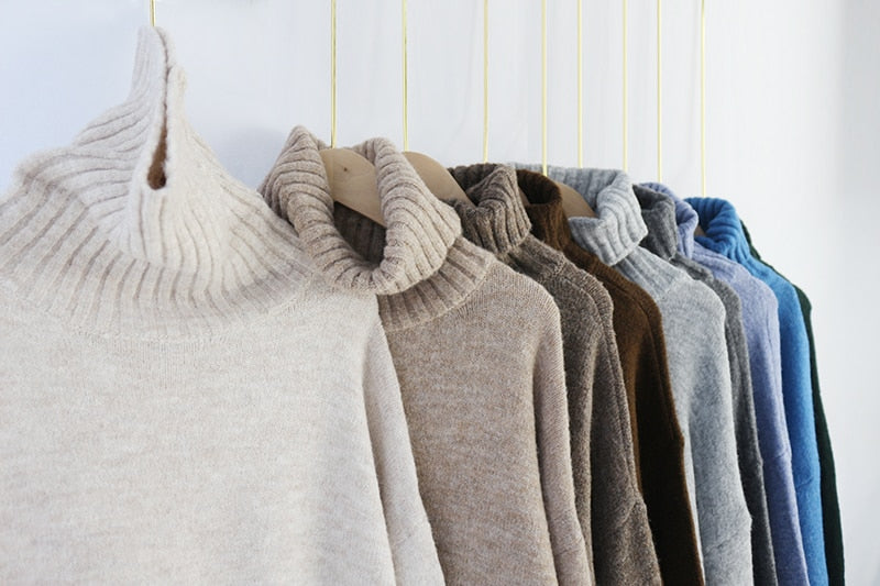 Knitted Turtleneck Cashmere Sweater Loose Tops - Jance Samantha Beauty & Fashion