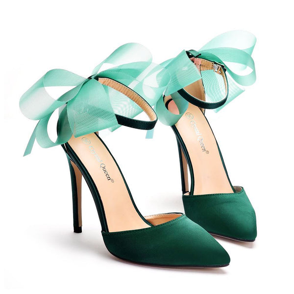 Satin Shoes Elegant Ankle Strap Party Bow-knot High Thin Heels - Jance Samantha Beauty & Fashion, LLC