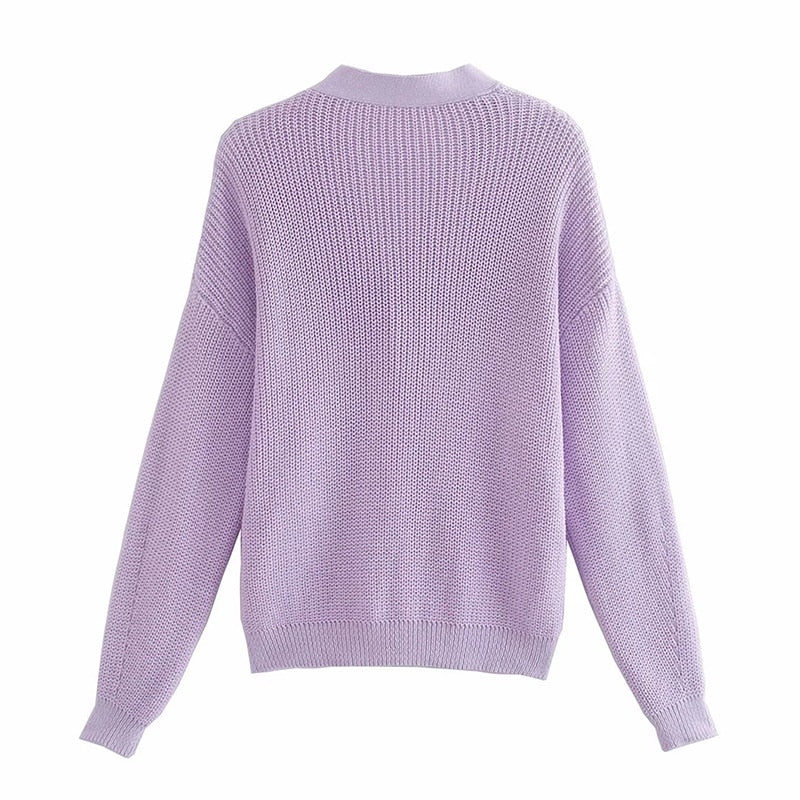 Purple Color Knitted Cardigans Sweater - Jance Samantha Beauty & Fashion
