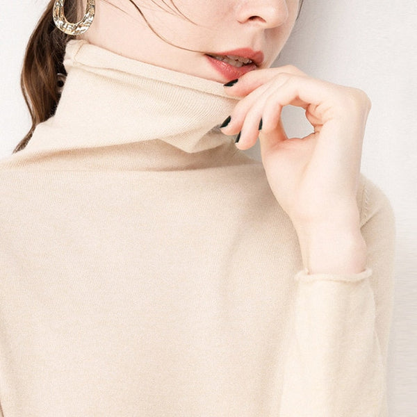 Chic Autumn Winter Women Solid Turtleneck Elegant Basic Sweaters - Jance Samantha Beauty & Fashion