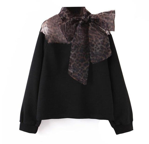 Black Leopard Mesh Spliced Hoodies Bow Tie O-neck Pullovers - Jance Samantha Beauty & Fashion