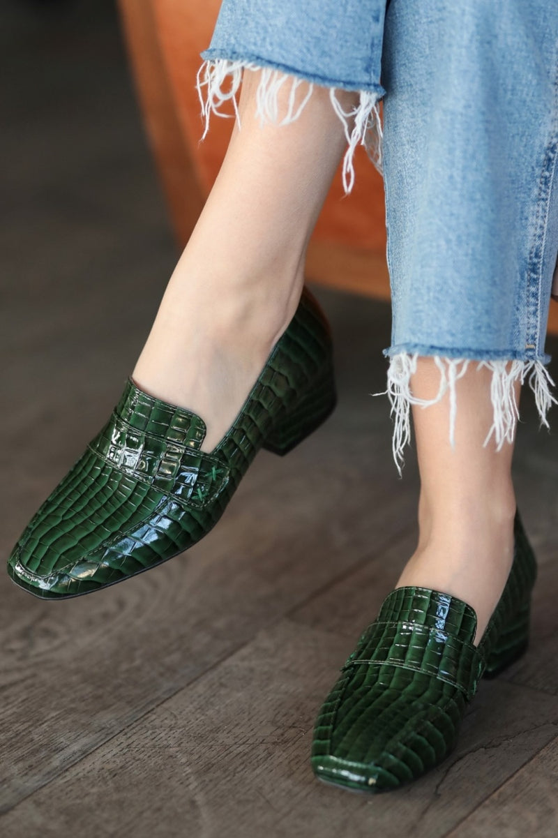 Maddy Green Crocodile Style Short Heels - Jance Samantha Beauty & Fashion