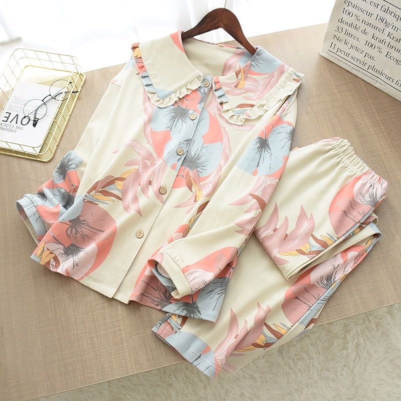 Pure Cotton Knitted Pajamas Suit Simple Big Flower Doll Collar - Jance Samantha Beauty & Fashion