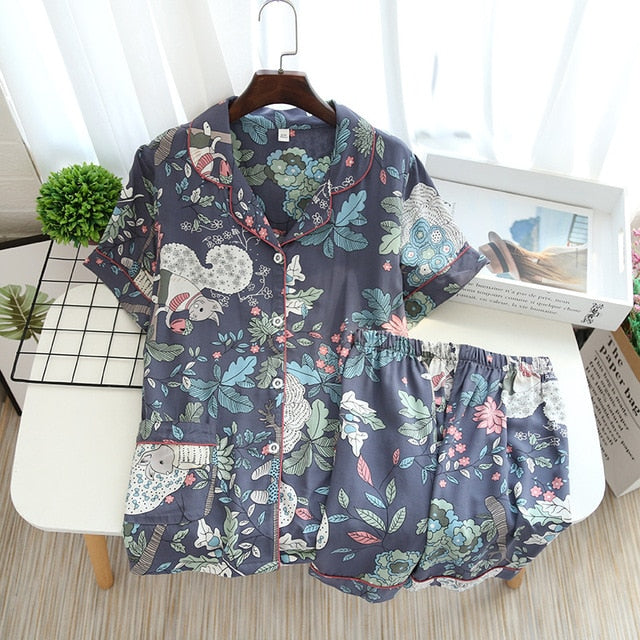 New Leisure Pajamas for Women Cotton Short-Sleeve Pajamas Set Floral Print - Jance Samantha Beauty & Fashion
