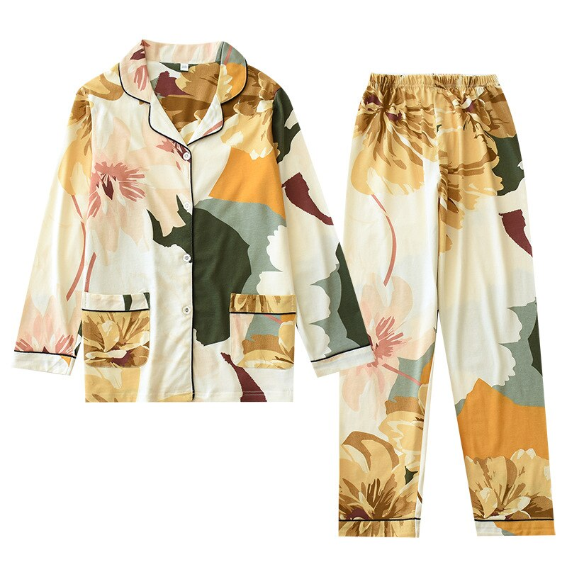Floral Print Two Pieces Women's Pajamas Cotton Viscose Long Sleeve Sleep Night Suit - Jance Samantha Beauty & Fashion