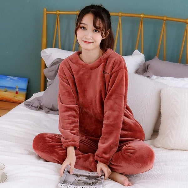 2 Pieces Casual Loose Flannel Pajamas Set - Jance Samantha Beauty & Fashion
