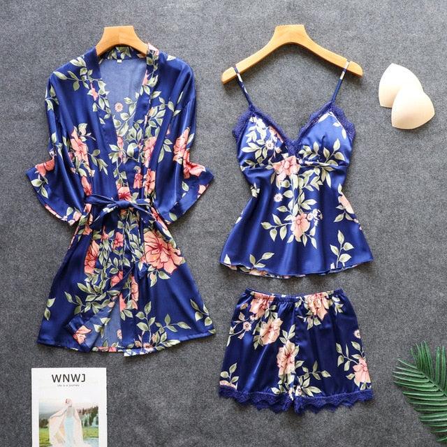 Lace Satin Summer Faux Silk 3 Pieces Cardigan Robe Loose Nightwear - Jance Samantha Beauty & Fashion