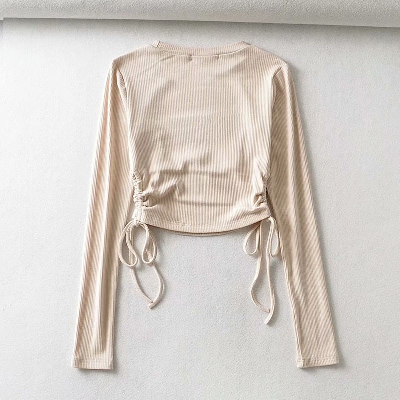 Knitted O-neck Long Sleeve Blouse Side Drawstring Slim Elastic Beige Cropped Top - Jance Samantha Beauty & Fashion