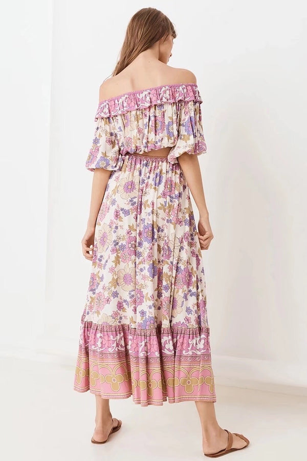 Bohemia Ruffle Elastic Slash neck Floral Print Pullover Shirt With Maxi Long Skirt Pink - Jance Samantha Beauty & Fashion