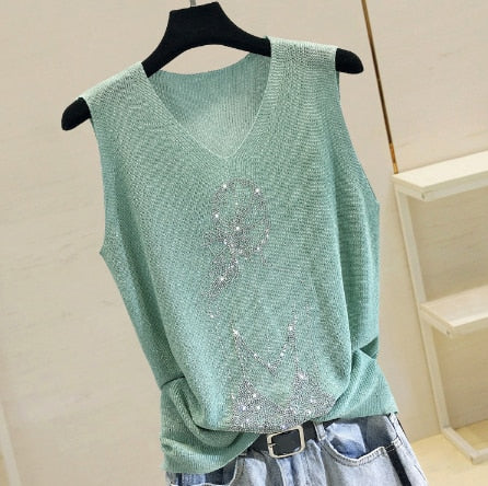 Thin Bright Rhinestones Sleeveless Vest Outwear - Jance Samantha Beauty & Fashion