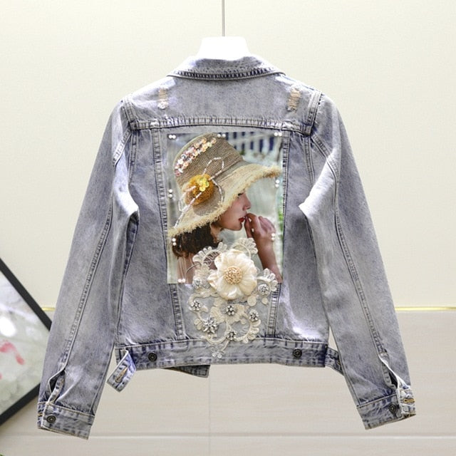 European Style Denim Embroidery Jackets