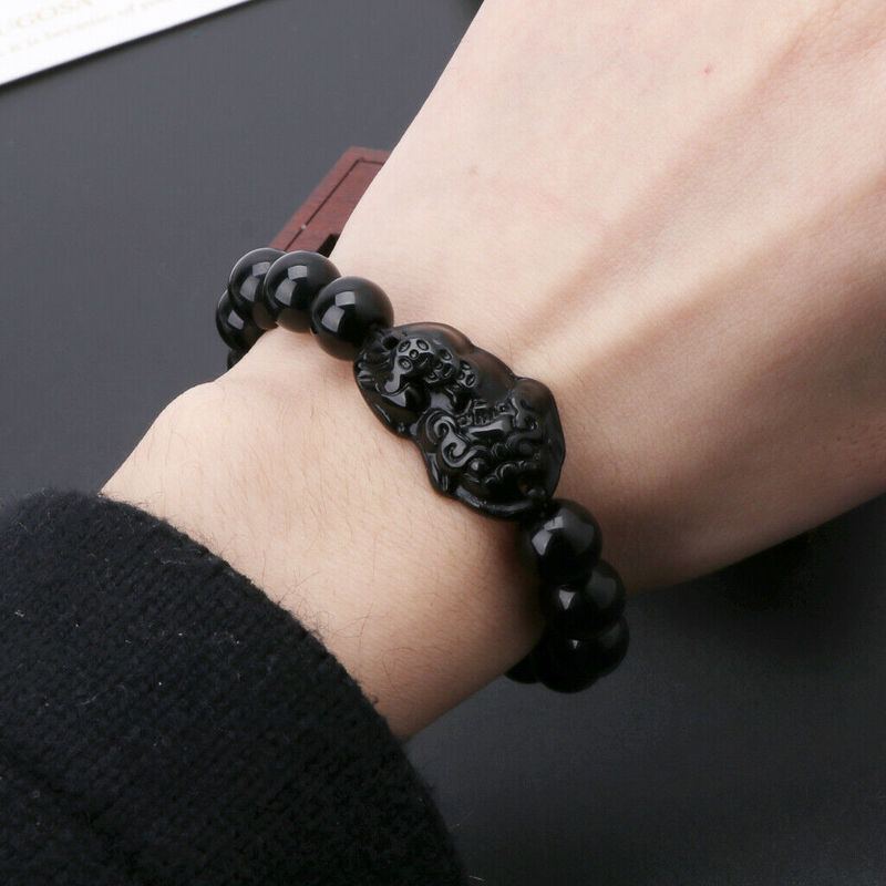 Obsidian Stone Beads Bracelet Wristband - Jance Samantha Beauty & Fashion