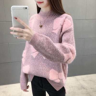 Thick Warm Knitted Sweater Women Korean Style - Jance Samantha Beauty & Fashion