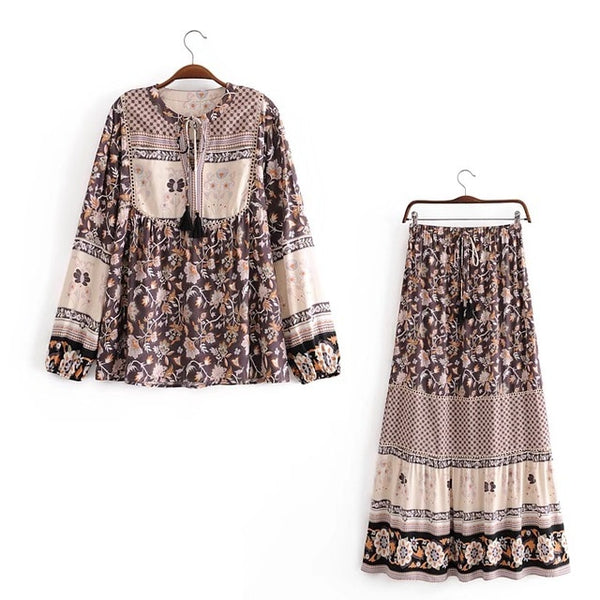 Autumn Bohemian Lacing up Tassel Floral Shirt & Waist Maxi Long Skirt - Jance Samantha Beauty & Fashion