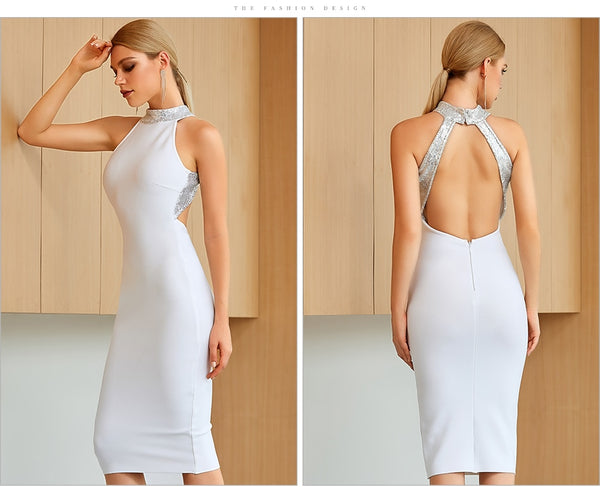 White Bandage Club Dress Sexy Hollow Out - Jance Samantha Beauty & Fashion, LLC