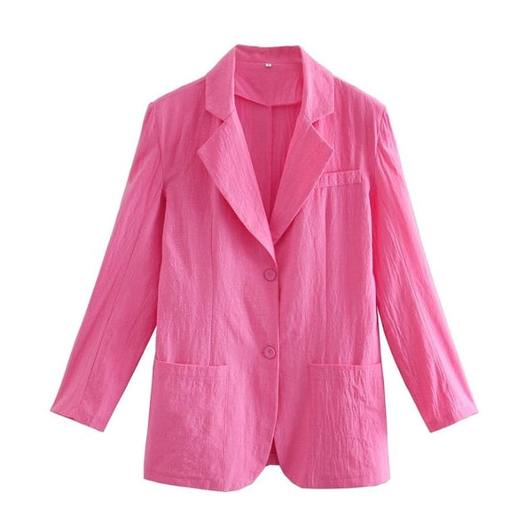 Free Style Center Buttons Thin Cotton BF Blazer - Jance Samantha Beauty & Fashion