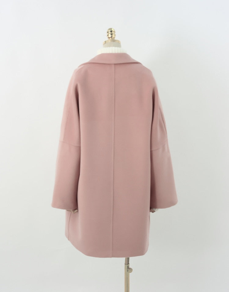 Korean Classic Simple Women Oversized Cashmere Look Pink Coat - Jance Samantha Beauty & Fashion