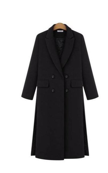 Simple Notched Lapel Woolen Cashmere Long Coat - Jance Samantha Beauty & Fashion